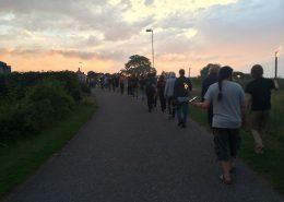 Fakkeloptog gennem Fynshav den sidste aften på årgang 1